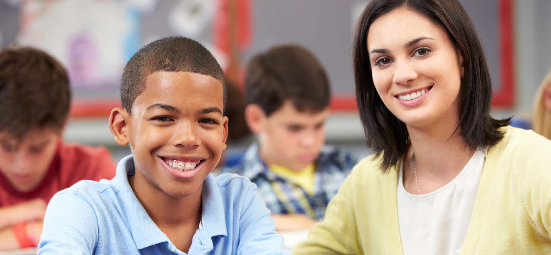 Student with teacher.